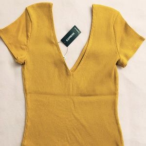 Mustard Double V Modern Rib Fitted Tee Shirt